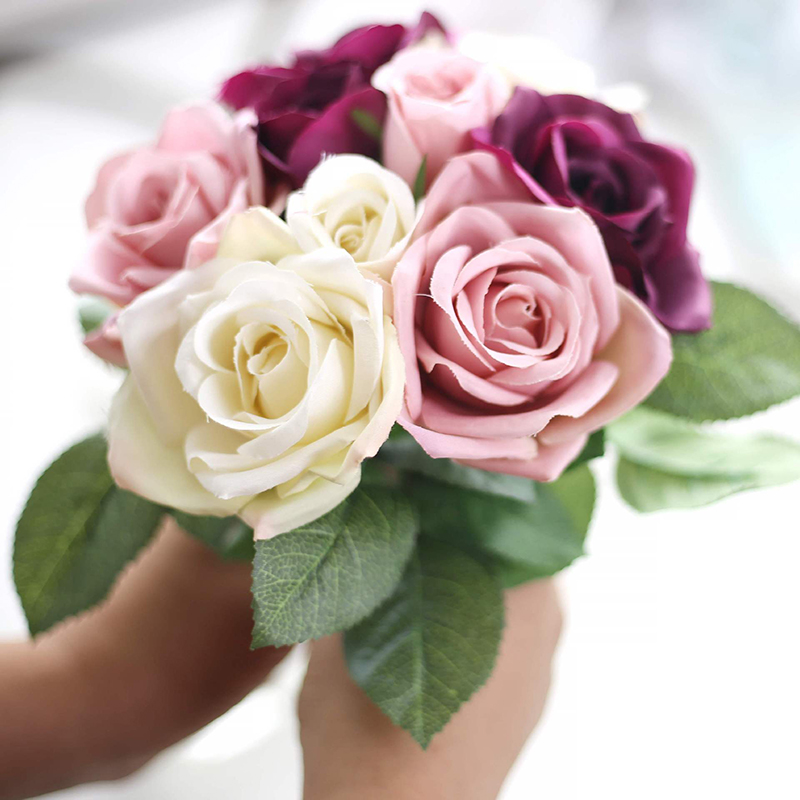 Rose Flowers 6pcs Head+3pcs Bud Artificial Flower For Wedding Valentines Day Party Bride Bouquet Silk Decorative Flower Rose