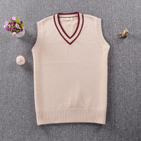Japanese School JK Uniform Sweaters Misaka Mikoto Style Sleeveless Sweater Vest for Women Girls Sweet Cute Stripes Knit Tank Top