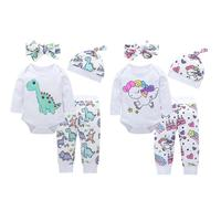 Newborn Baby Long Sleeve Clothes Set 4pcs Cute Romper Pants Headband Hat