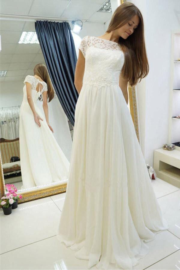 Beach Vestido De Noiva 2019 Wedding Dresses A-line Cap Sleeves Chiffon Lace Boho Dubai Arabic Wedding Gown Bridal Dresses