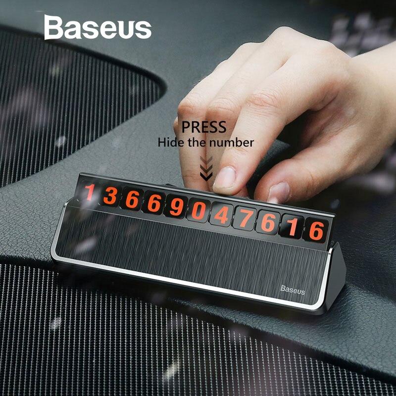 Baseus estilo de coche Etiqueta de coches de estacionamiento temporal tarjeta de teléfono móvil titular de la tarjeta número de placa de interruptor basculante teléfono de la tarjeta Número de