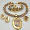 Presente nupcial Do Casamento Nigeriano Beads Africanos Conjunto de Jóias Design de Moda Dubai Jóias de Ouro Chapeado Set Traje