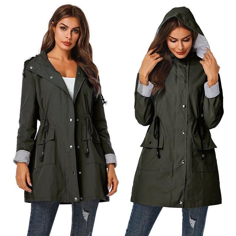 ESCALIER New Style   Trench   Coat Waterproof Windproof Hooded Waist Zip Long-Sleeve Coat Female