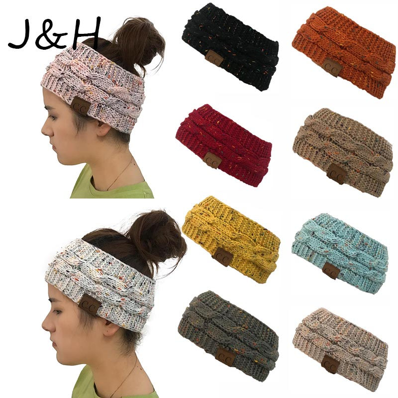 Wide Headwear Knitted Crochet Twist Hat Winter Warm Elastic Female   Skullies     Beanies   Hat High Quality Drop Shipping