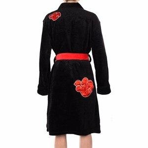 Image 3 - Anime Naruto Cosplay Bademantel Akatsuki Uchiha Itachi Flanell Pyjamas Erwachsene Unisex Winter Warme Nachtwäsche Nachtwäsche Kimono Robe