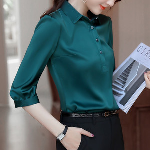 Image 2 - Naviu 2019 New Fashion High Quality Satin Shirt Women Tops and Blouses Office Lady Style Formal Shirt Plus Size Work Wear