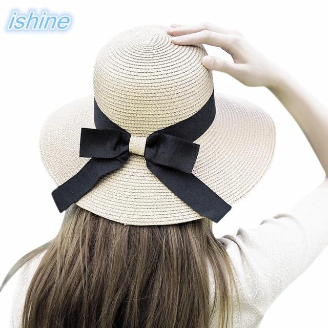 8e9f16d1a0cd6 2018 New Bowknot Ribbon Beach Sun Hat Outdoor Beach Vocation Anti-UV Sun  Straw Hat