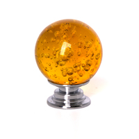Yellow 10pcs 30mm/40mm Crystal Handle Alloy Ball Shape inside Bubble for Door Cabinet Drawer Bookcases
