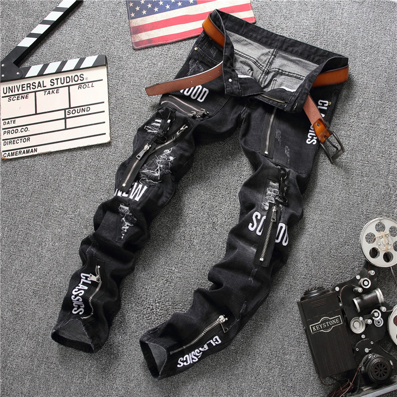Badge Zipper Fashion Mens Jeans Denim Casual Pants Long Trousers High Quality Famous Brand Stretch Straight Mens Jeans 32-38