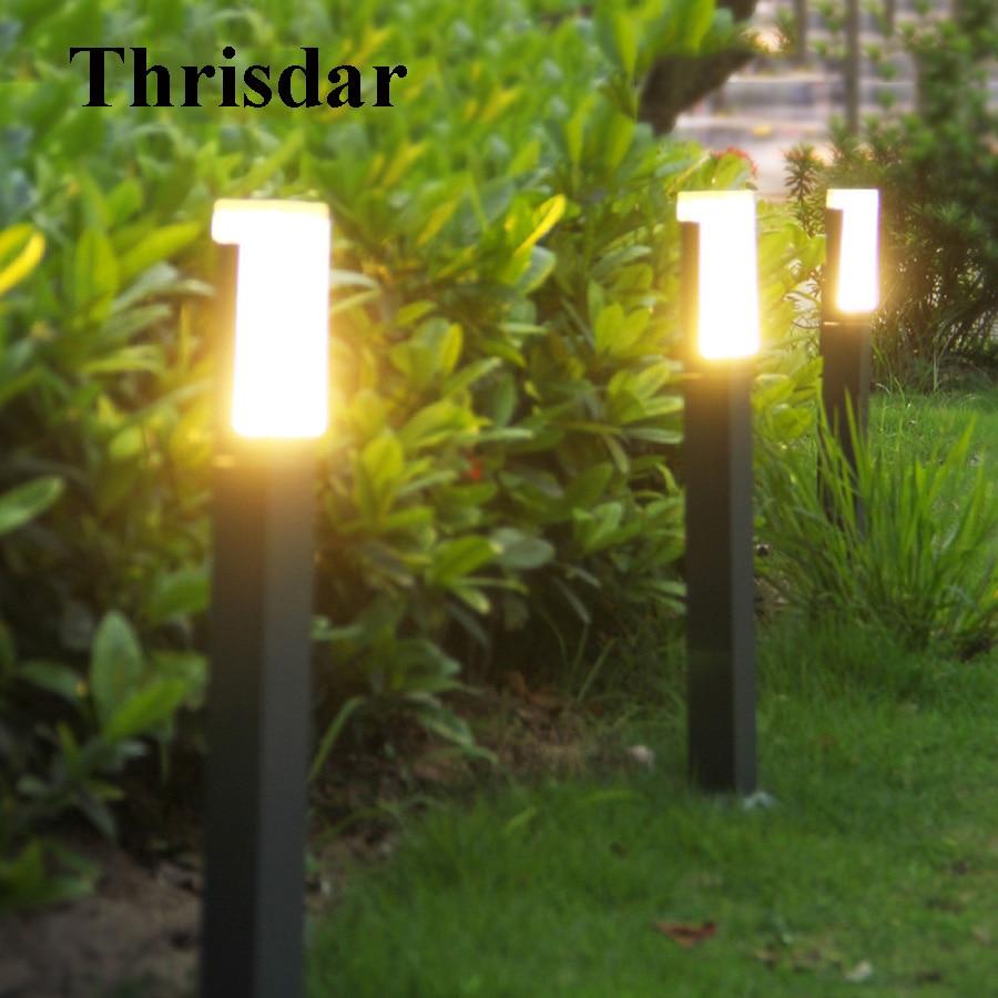 Thrisdar 2PCS Acrylic Outdoor Garden Landscape Lawn Light Villa Pathway Post Lawn Light Park Courtyard LED bollard Light ...