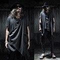 Chaleco masculino calle moda punk gótico capa sin mangas de los hombres chaleco chaqueta de punto ropa de la etapa de los hombres Irregular chaleco chal, Q88