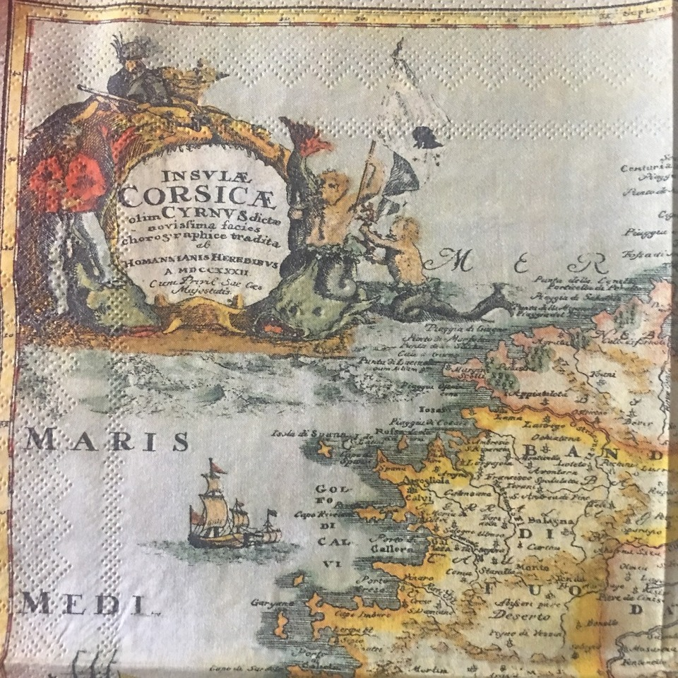 20 3 ply vintage napkins paper tissue printed pirate map ...