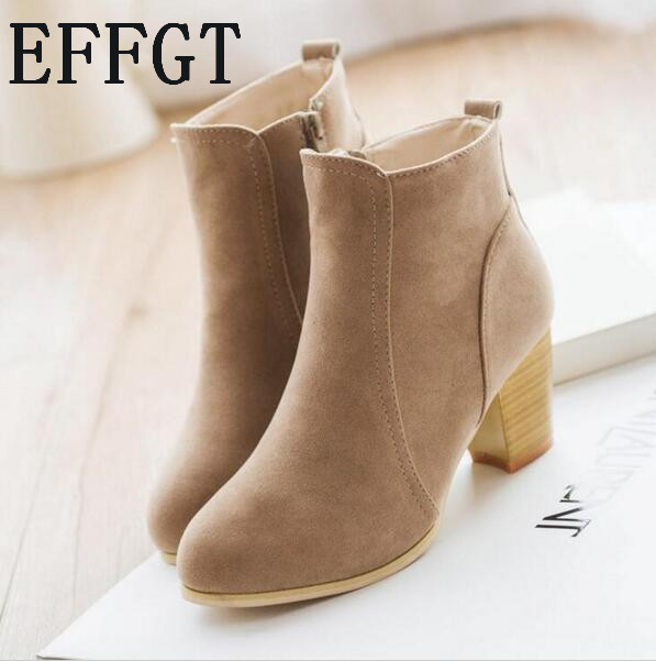 EFFGT NEW Autumn winter short cylinder boots with high heel boots shoes Martin boots women ankle boots with thick scrub