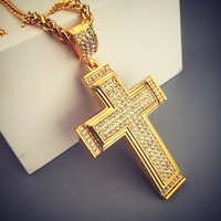 New Design Big Crucifix Pendant Mens Yellow Gold Filled Zirconia Cross Necklace Statement Hip Hop Male