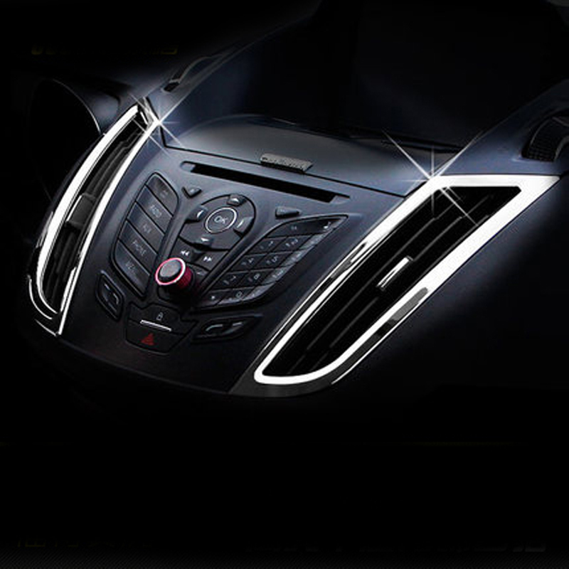 Air Conditioning Front Outlet Cover Interior Trim Chrome ABS Car Accessories For Ford C-MAX CMAX 2011 2012 2013 2014 2015 2GEN abs chrome front grille around trim for ford s max smax 2007 2010 2011 2012