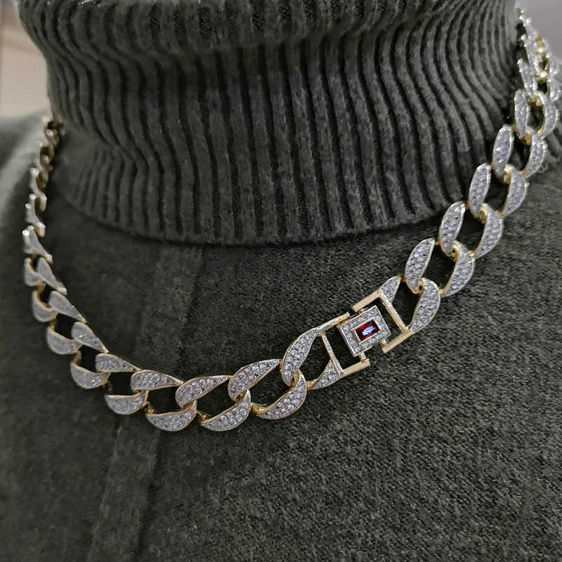 "Custom Necklace Mens Golden Finish Full Iced Out Hip Hop CZ 16"" 18"" 20"" 22"" 24"" Miami Cuban Chain Necklace Drop Shipping"