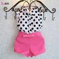 2016 roupa nova meninas de verão conjuntos de roupas de bebê menina casaco de bolinhas + calça rosa conjunto de roupas de bebê