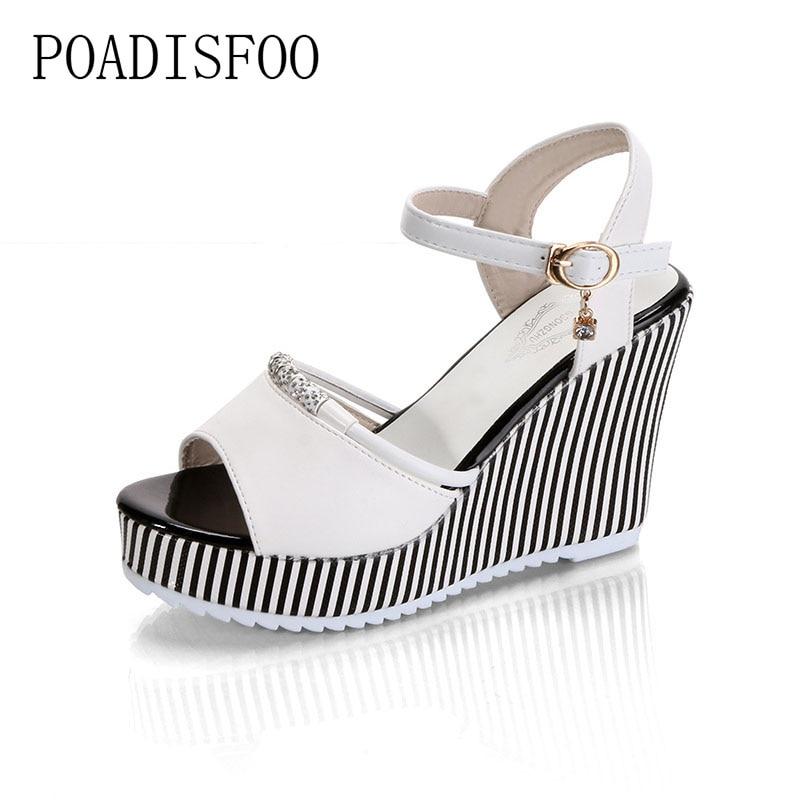 POADISFOO 2018 summer womens platform wedges Waterproof Sandals 10cm Super high heel women Shoes Gingham PVC Sandals.HYKL-922