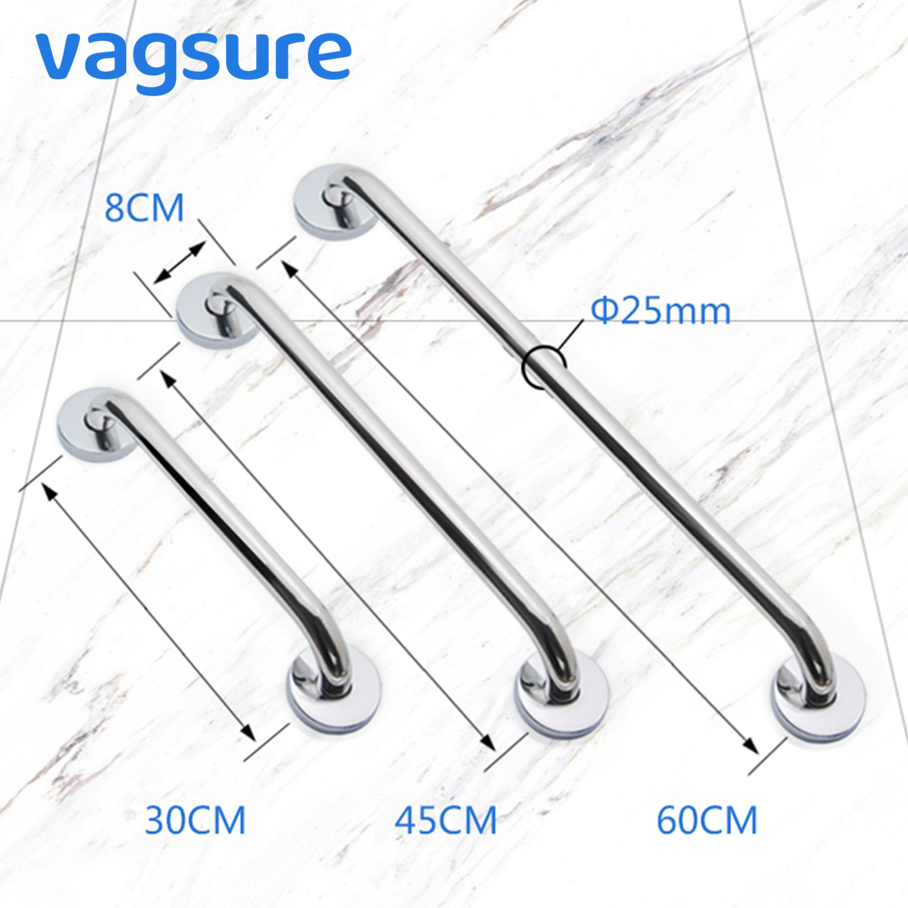 Vagsure 30/45/60cm Stainless Steel Grab Bar Assist Safety Bathroom Accessory Handle Railing Bathtub Anti-slip Grip For Elder