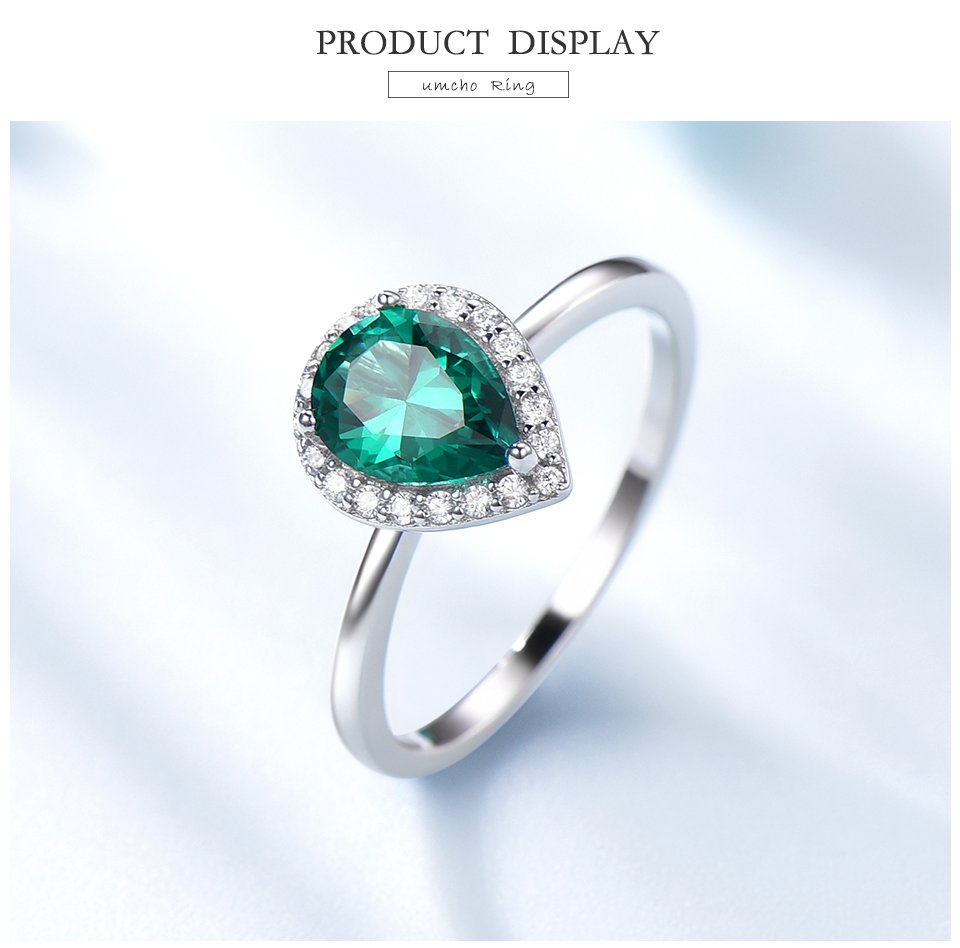 UMCHO Emerald 925 sterling silver rings for women RUJ046E-1-pc (3)