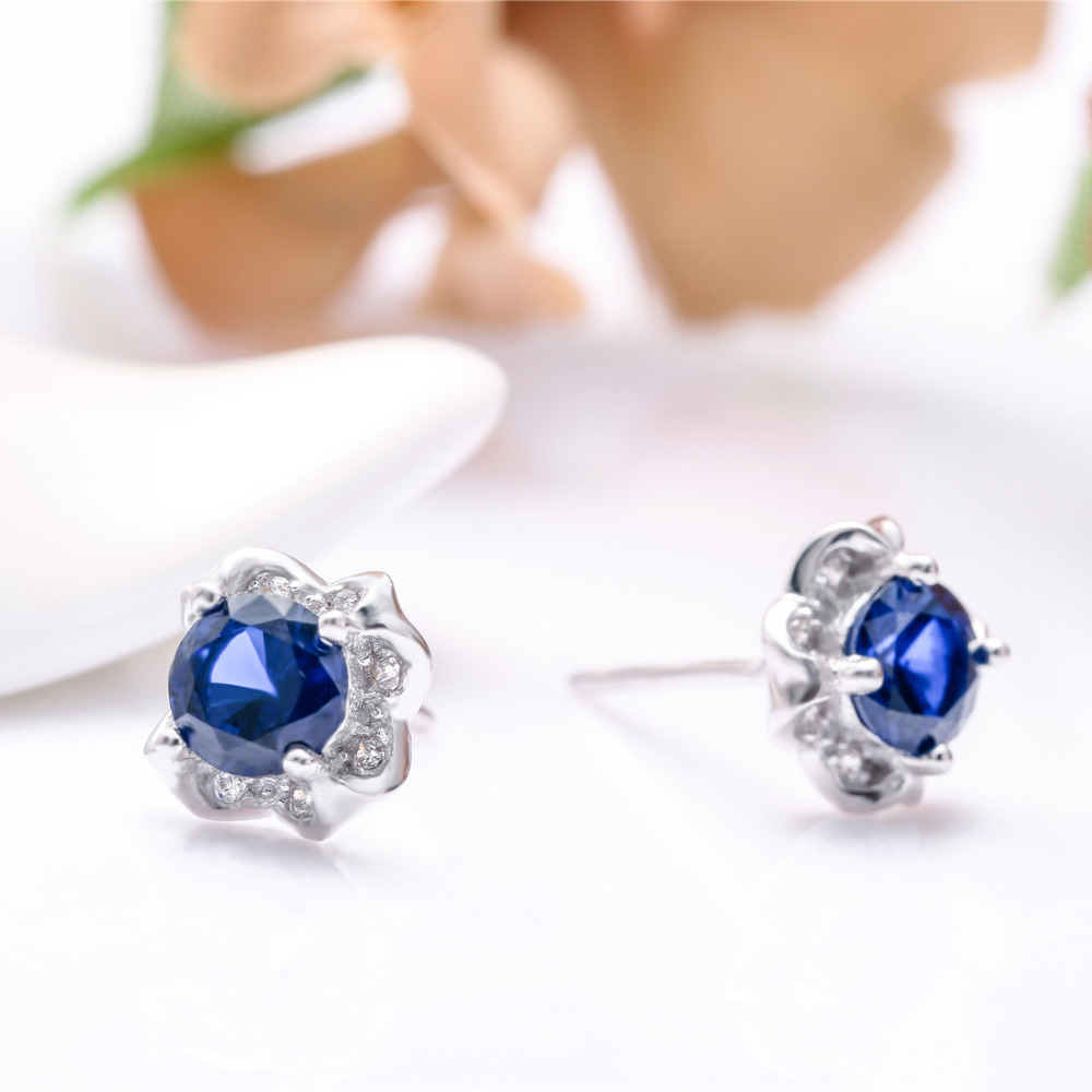 Pure 925 Silver Jewelery Flower Earrings For Woman Lady Diamante White Gold Plated Blue  ...
