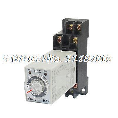 AC 220V 8 Pins DPDT 0-60S Timer Delay DIN Rail Time Relay H3Y-2 w Socket