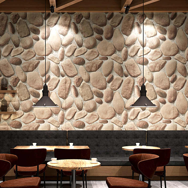 Modern 3D Rustic Cobble Stone Wallpaper
