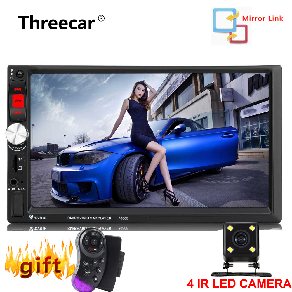 все цены на 7'' 1024*600 Touch Screen 7080B Car Radio 2 Din no dvd Auto audio Player Stereo bluetooth USB SD MP3 Rear View Camera autoradio онлайн