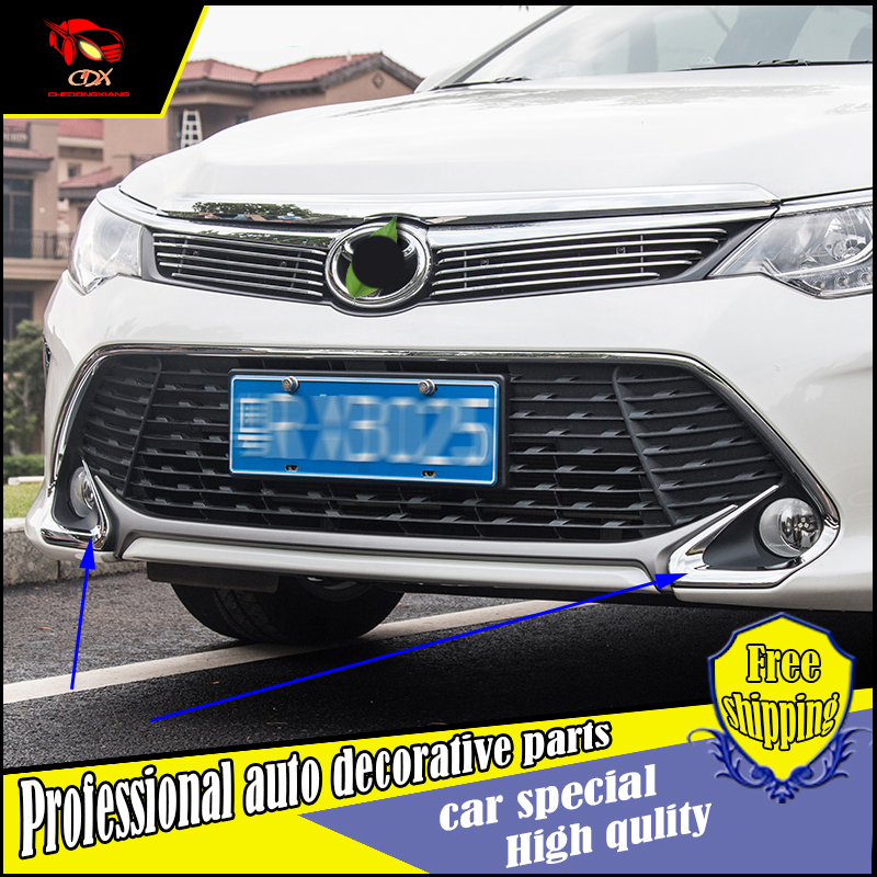 car styling chrome fog light lamp cover trim for toyota camry 2015 2016 front and rear bumper. Black Bedroom Furniture Sets. Home Design Ideas