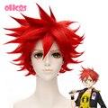 OHCOS Touken Ranbu Онлайн Характера Айзен Kunitoshi 11.81 дюйм(ов) Красный Короткие Волосы Косплей Парики