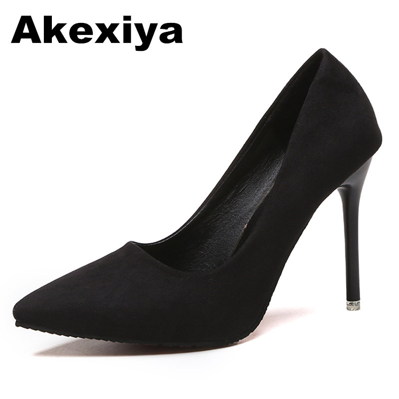 Akexiya 2017 Pointed High Heels Fine With Shallow Mouth Woman Shoes Suede Fashion Black Professional  Wedding tenis feminino купить