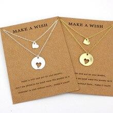 Сердце любовь цепи ожерелье s мать и дочь набор луна звезда пара ожерелье с подвеской мама сестра ювелирные изделия для лучших друзей подарок