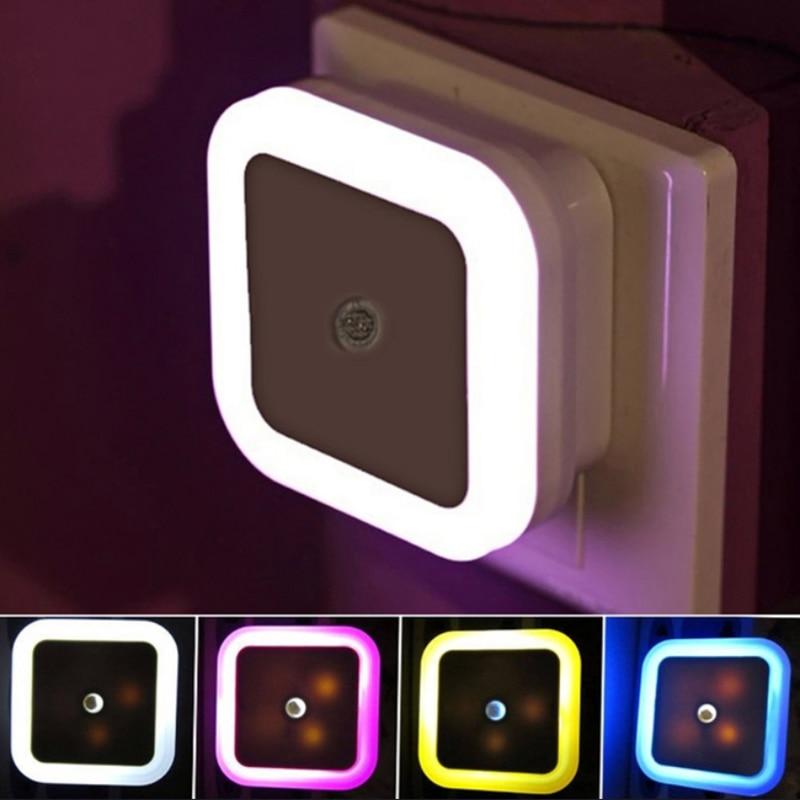 LED Night Light Mini Sensor EU US Plug Novelty Square Bedroom Lamp For Baby Gift Romantic Colorful Lights For Home Decoration