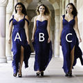 Convertible Bridesmaid Dress 2015 Royal Blue Chiffon Long Brides Maid Dresses