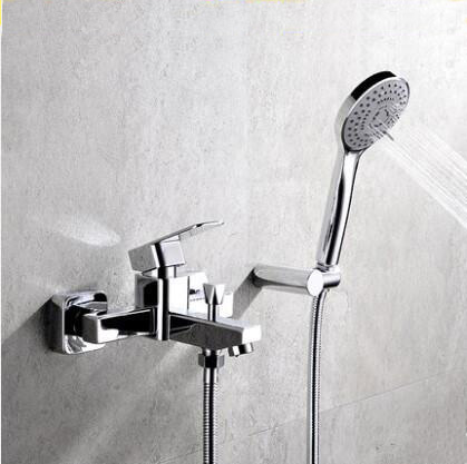 Bathroom handheld shower head faucet mixer water, Wall mounted waterfall shower faucet set, Copper bathtub shower faucet chrome