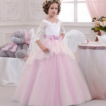 Palace Formal Kids Girl Dress Evening Party Prom Ball Gown Blue Backless Lace Bow Girls Dress Children Pageant Clothes Vestidos недорого