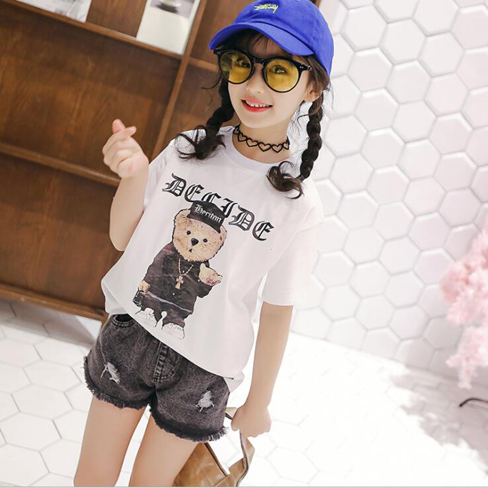Mimi xiong zestaw 2018 letnie dziewczęce spodenki jeansowe - Ubrania dziecięce - Zdjęcie 4