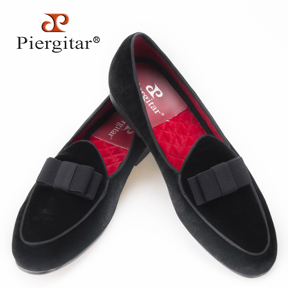 Piergitar new arrival Handmade Men velvet shoes with short Tongue and Bowtie Men party and wedding dress shoes Banquet loafers piergitar 2017 new black patent leather men handmade loafers with black bowtie fashion banquet and prom men dress shoes