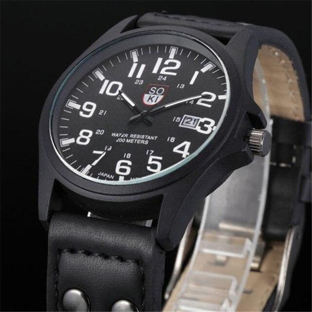 5846598974e Vintage Clássico Relógios Homens Pulseira de Couro À Prova D  Água Data  Exército Esporte De
