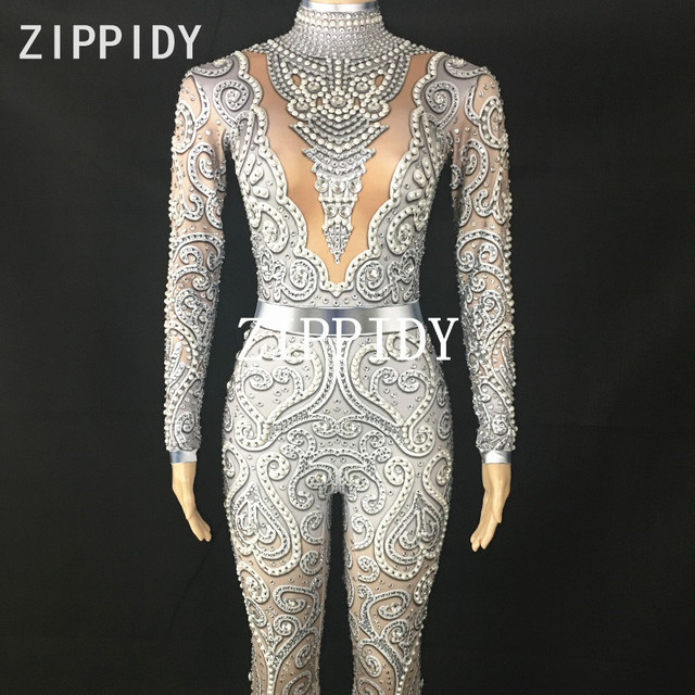 Sexy Jumpsuit Stage Performance Dance Rompers New Arrive Silver Crystals Bodysuit long Sleeves Birthday Celebrate outfit