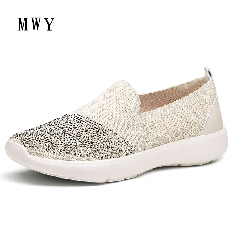 MWY Big size 35 41 Women Summer Stretch Fabric Flats Shoes Comfortable Flat loafers Femal Shoes Breathable Crystal Casual Shoes women s shoes 2017 summer new fashion footwear women s air network flat shoes breathable comfortable casual shoes jdt103