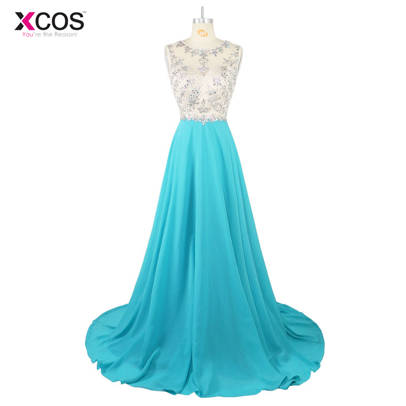 XCOS Formal   Prom     Dresses   Long Women Elegant Scoop Sleeveless Blue Beaded Party Gowns   Dresses   2017 New