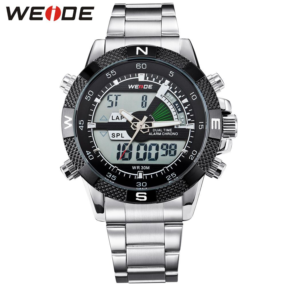 ФОТО WEIDE Top Brand Mens Digital Dual Time Watch Full Stainless Steel Big Dial 30M Waterproof LCD Watches Wristwatch Original Gifts