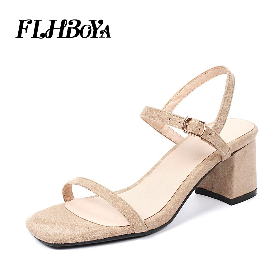 c17825395 FLHBOYA Sexy Femme Nude Block High Heels Sandals Ankle Strap Grey Chunky  Heel Women Open Toe Fashion Summer Party Shoes Sandals-in High Heels from  Shoes on ...