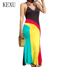 KEXU Summer Womens Bohemian Beach Maxi Dresses V Neck Sleeveless Color Matching Casual Loose Dress Sexy Backless Halter