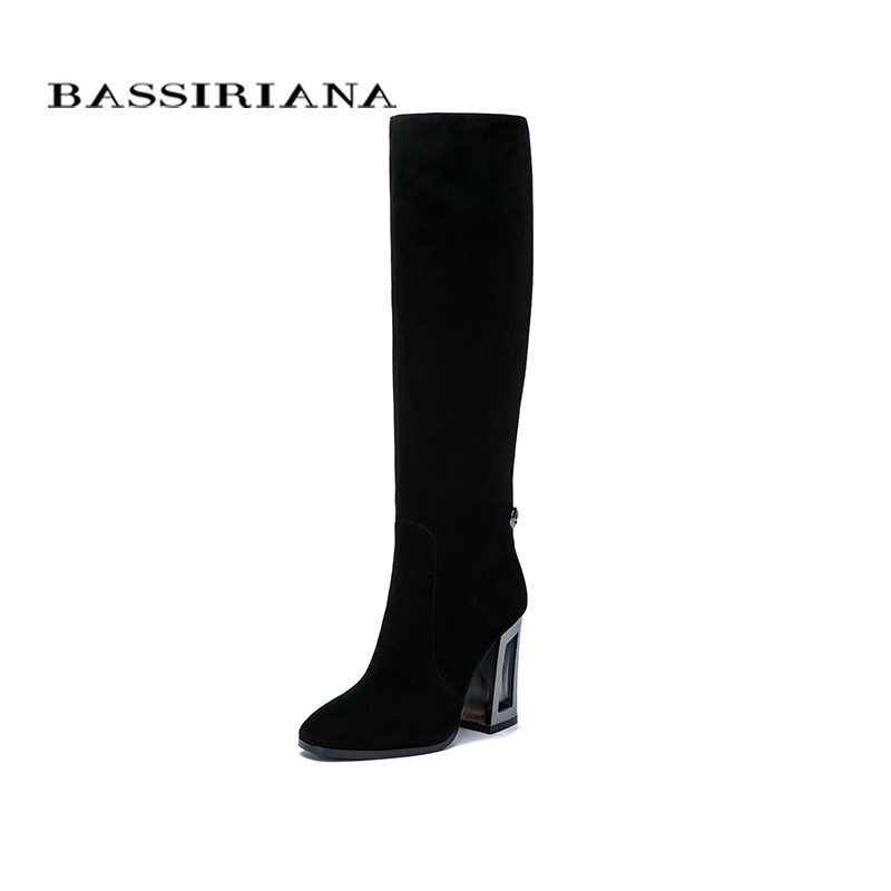 BASSIRIANA New Genuine leather high boots high heels shoes woman black suede beige leather Spring/Autumn zipper 35 40 size