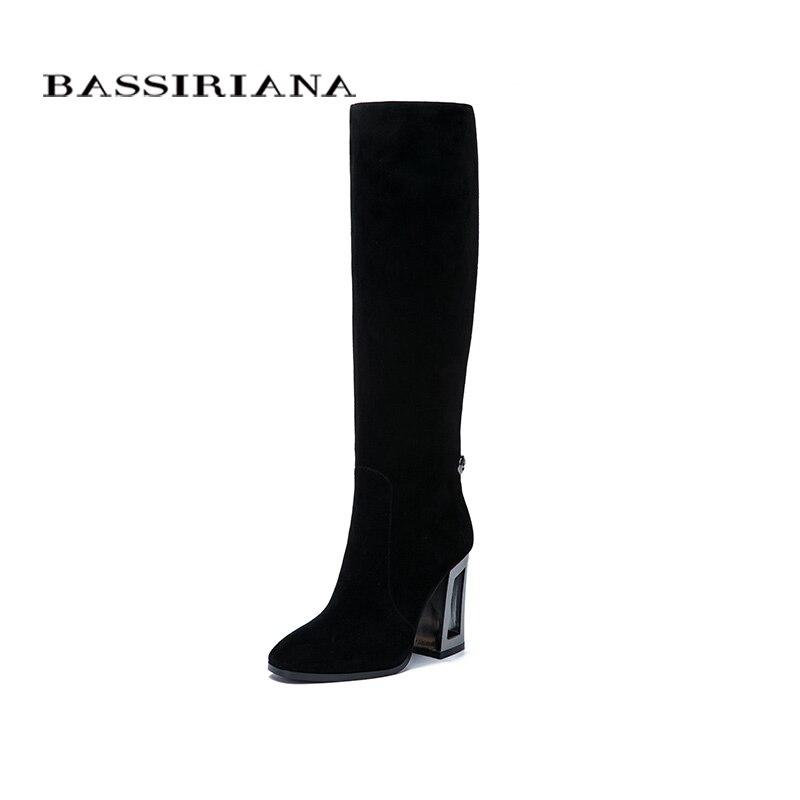Bassiriana nuevo cuero genuino zapatos de tacones altos negro Suede beige cuero Primavera/otoño cremallera 35- 40 tamaño