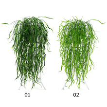 95cm 5 Forks Artificial Vine Fake Grass Plastic Wicker Rattan Wall Hanging Green Plant for Home Garden Wedding Party Decoration
