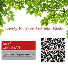 6 pcs/lot Artificial Manmade Feather Bird Lifelike Garden Ornaments Simulated Birds Cute Home Garden Feather Decoration