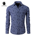 Designer Mens Casual Shirts Fashion feather Printing Long Sleeve Casual Shirts For Men 100% Cotton Chemise Homme M~3XL C2E14
